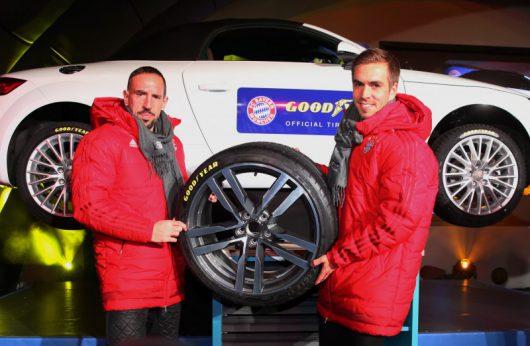 Frank Ribéry und Philipp Lahm vom FC Bayern München fahren zukünftig auf Goodyear-Reifen
